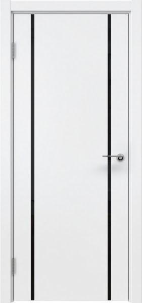 Межкомнатная дверь ZM017 (эмаль белая / триплекс черный)
