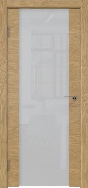 Межкомнатная дверь ZM018 (натуральный шпон дуба / триплекс белый)