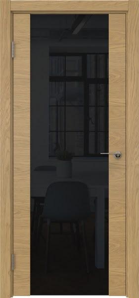 Межкомнатная дверь ZM018 (натуральный шпон дуба / триплекс черный)