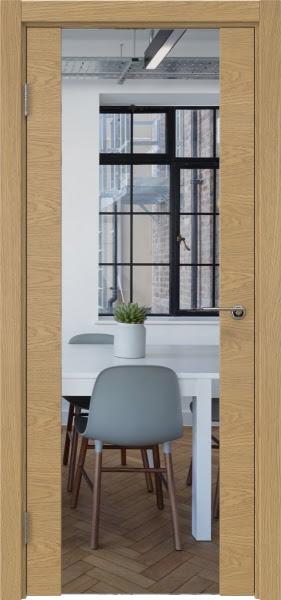 Межкомнатная дверь ZM018 (натуральный шпон дуба / зеркало)