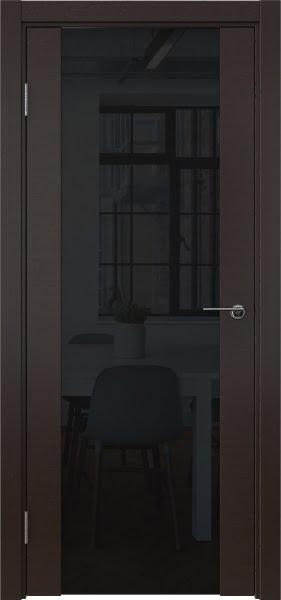 Межкомнатная дверь ZM018 (шпон венге / триплекс черный)