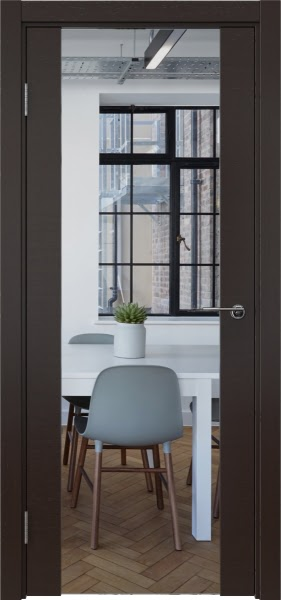 Межкомнатная дверь ZM018 (шпон венге / зеркало)