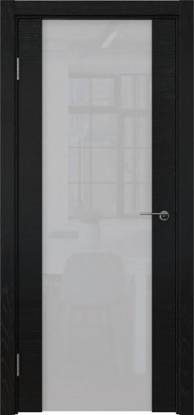Межкомнатная дверь ZM018 (шпон ясень черный / триплекс белый)
