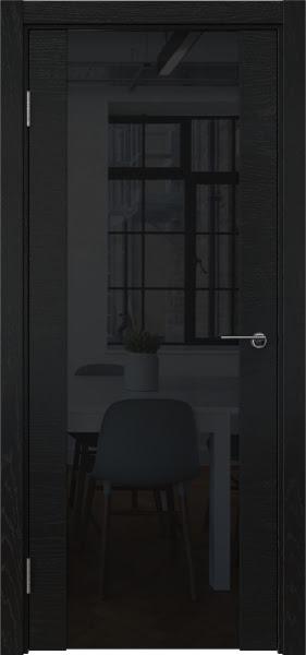 Межкомнатная дверь ZM018 (шпон ясень черный / триплекс черный)