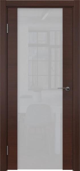 Межкомнатная дверь ZM018 (шпон итальянский орех / триплекс белый)