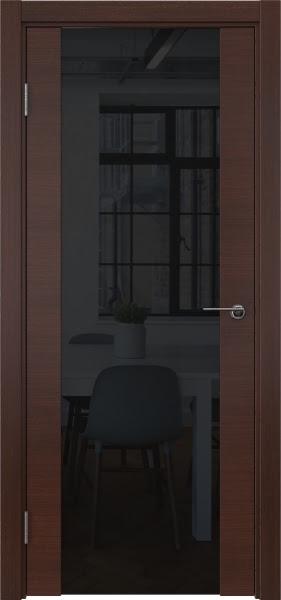 Межкомнатная дверь ZM018 (шпон итальянский орех / триплекс черный)