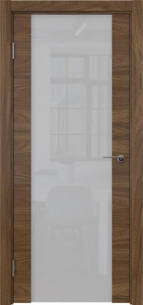 Межкомнатная дверь ZM018 (шпон американский орех / триплекс белый)