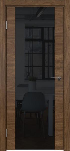 Межкомнатная дверь ZM018 (шпон американский орех / триплекс черный)
