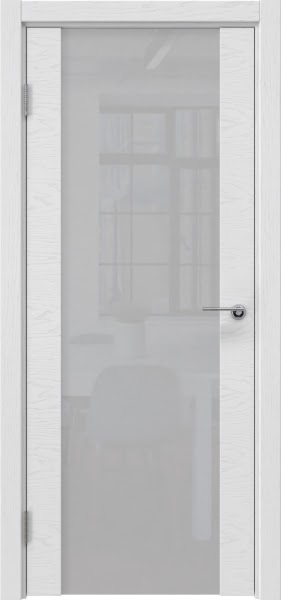 Межкомнатная дверь ZM018 (шпон ясень светло-серый / лакобель белый)