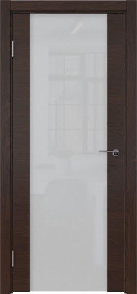 Межкомнатная дверь ZM018 (шпон дуб коньяк / триплекс белый)