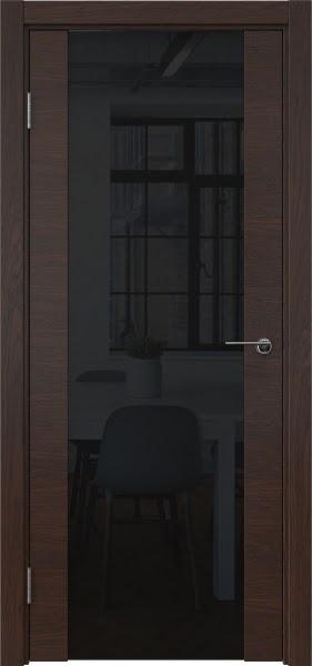 Межкомнатная дверь ZM018 (шпон дуб коньяк / триплекс черный)