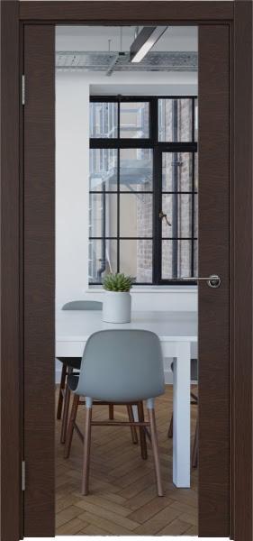 Межкомнатная дверь ZM018 (шпон дуб коньяк / зеркало)