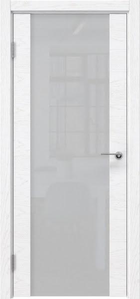 Межкомнатная дверь ZM018 (шпон ясень белый) / триплекс белый)