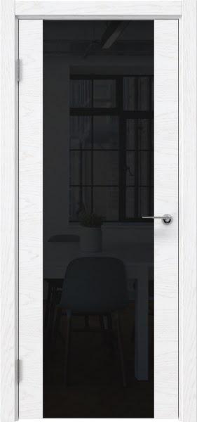 Межкомнатная дверь ZM018 (шпон ясень белый) / триплекс черный)