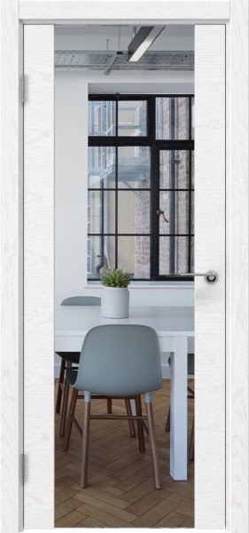 Межкомнатная дверь ZM018 (шпон ясень белый / зеркало)
