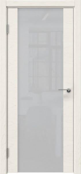 Межкомнатная дверь ZM018 (шпон ясень слоновая кость / триплекс белый)
