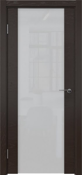 Межкомнатная дверь ZM018 (шпон ясень темный / триплекс белый)
