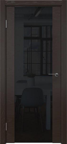 Межкомнатная дверь ZM018 (шпон ясень темный / триплекс черный)