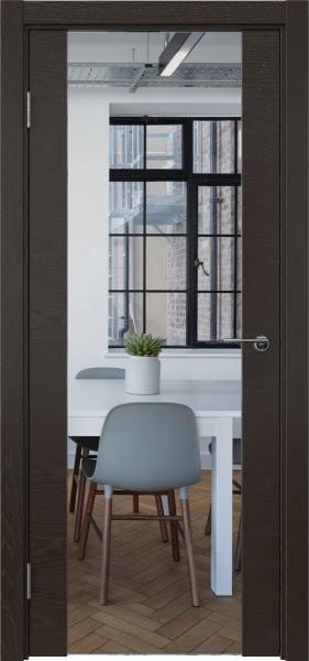 Межкомнатная дверь ZM018 (шпон ясень темный / зеркало)