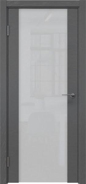 Межкомнатная дверь ZM018 (шпон ясень серый / триплекс белый)