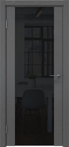 Межкомнатная дверь ZM018 (шпон ясень серый / триплекс черный)