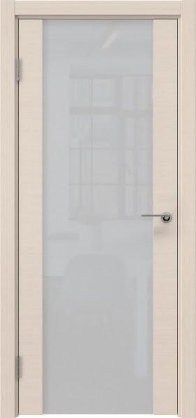 Межкомнатная дверь ZM018 (шпон беленый дуб / триплекс белый)