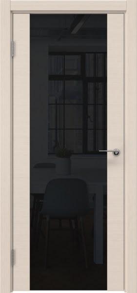 Межкомнатная дверь ZM018 (шпон беленый дуб / триплекс черный)