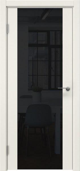 Межкомнатная дверь ZM018 (эмаль слоновая кость / триплекс черный)