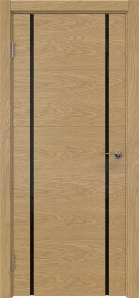 Межкомнатная дверь ZM020 (натуральный шпон дуба / триплекс черный)