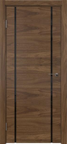 Межкомнатная дверь ZM020 (шпон американский орех / триплекс черный)