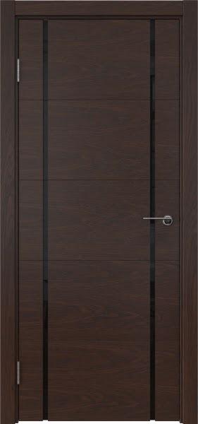 Межкомнатная дверь ZM020 (шпон дуб коньяк / триплекс черный)