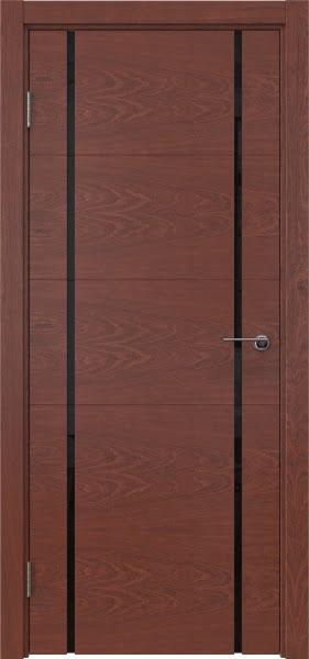 Межкомнатная дверь ZM020 (шпон красное дерево / триплекс черный)