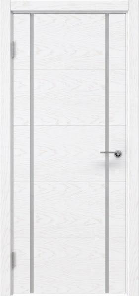 Межкомнатная дверь ZM020 (шпон ясень белый) / триплекс белый)