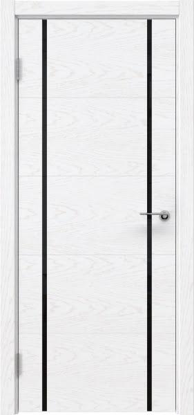 Межкомнатная дверь ZM020 (шпон ясень белый) / триплекс черный)