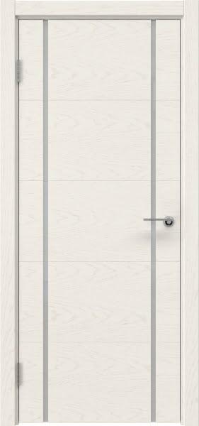 Межкомнатная дверь ZM020 (шпон ясень слоновая кость / триплекс белый)