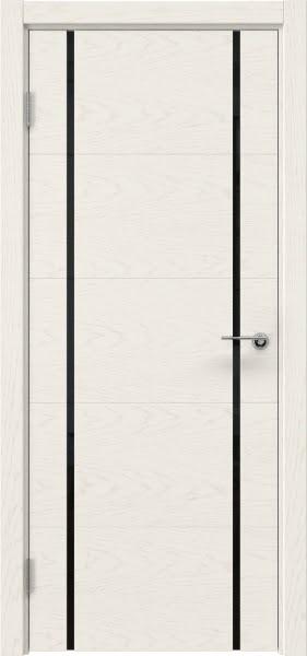 Межкомнатная дверь ZM020 (шпон ясень слоновая кость / триплекс черный)