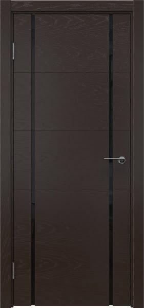 Межкомнатная дверь ZM020 (шпон ясень темный / триплекс черный)
