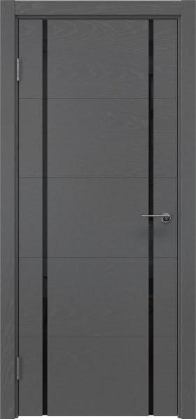 Межкомнатная дверь ZM020 (шпон ясень серый / триплекс черный)