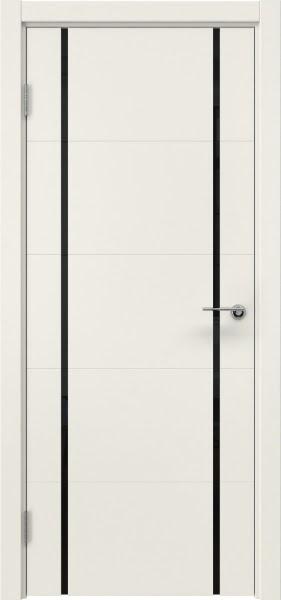 Межкомнатная дверь ZM020 (эмаль слоновая кость / триплекс черный)