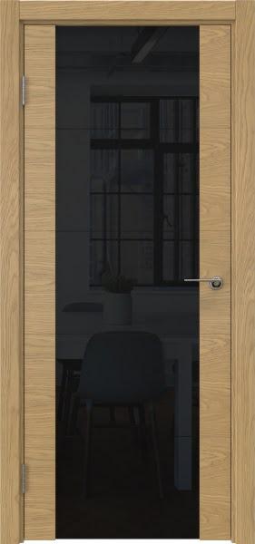 Межкомнатная дверь ZM021 (натуральный шпон дуба / триплекс черный)