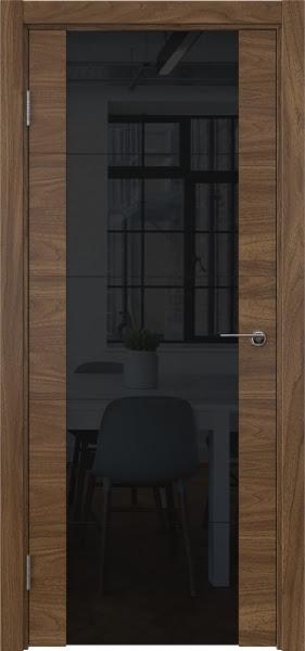 Межкомнатная дверь ZM021 (шпон американский орех / триплекс черный)