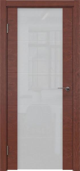 Межкомнатная дверь ZM021 (шпон красное дерево / триплекс белый)