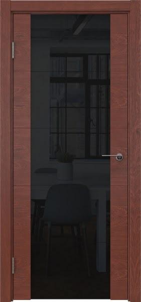 Межкомнатная дверь ZM021 (шпон красное дерево / триплекс черный)