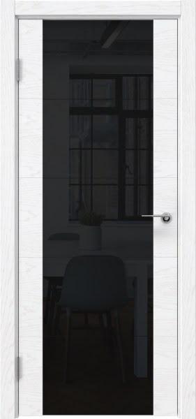Межкомнатная дверь ZM021 (шпон ясень белый) / триплекс черный)