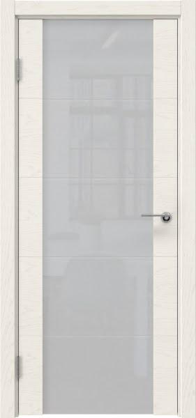 Межкомнатная дверь ZM021 (шпон ясень слоновая кость / триплекс белый)