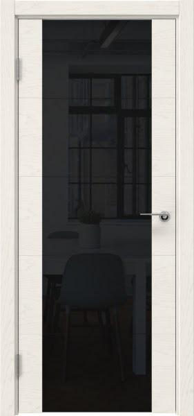 Межкомнатная дверь ZM021 (шпон ясень слоновая кость / триплекс черный)