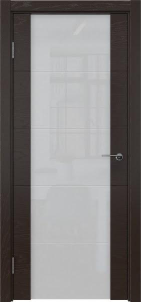 Межкомнатная дверь ZM021 (шпон ясень темный / триплекс белый)