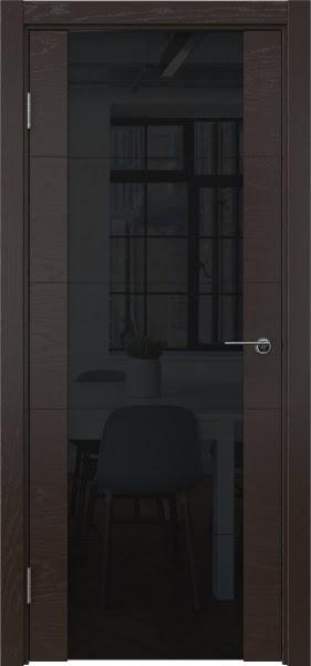 Межкомнатная дверь ZM021 (шпон ясень темный / триплекс черный)