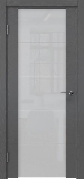 Межкомнатная дверь ZM021 (шпон ясень серый / триплекс белый)