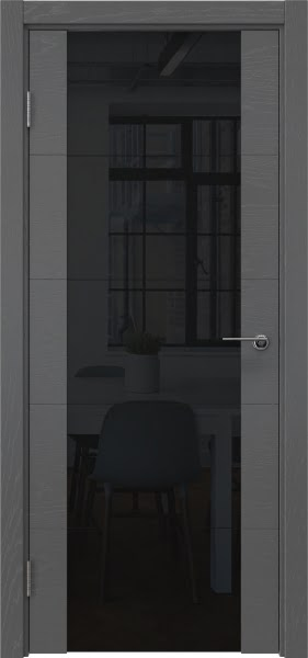 Межкомнатная дверь ZM021 (шпон ясень серый / триплекс черный)